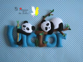 nombre-fieltro-decorativo-decoración-infantil-Victor-elbosquedelulu-oso-panda-hechoamanoparati-regalo-personalizado