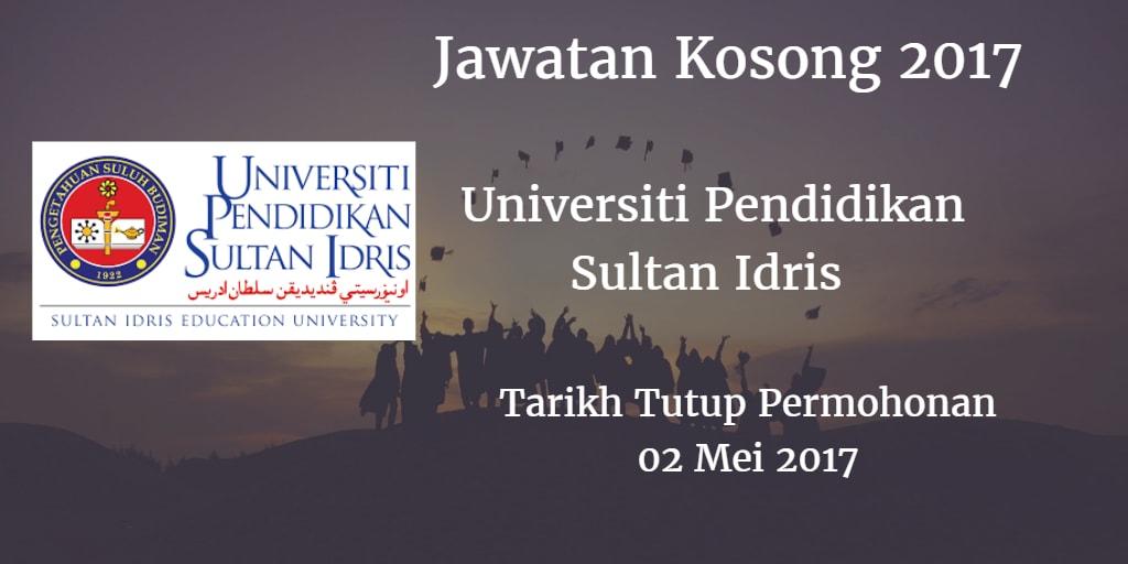 Jawatan Kosong UPSI 02 Mei 2017
