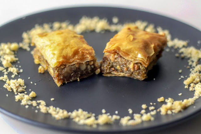 Lebanese Style Baklava with Walnuts and Pistachios