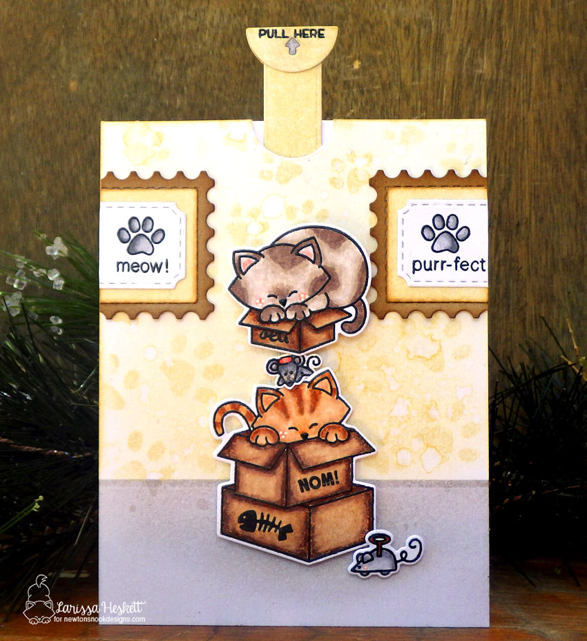 Cat in Boxes Slider Card by Larissa Heskett | Newton Loves Boxes and Newton's Antics Stamp Sets by Newton's Nook Designs #newtonsnook #handmade