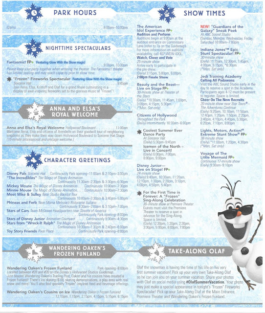 Times Guide Frozen Summer Fun Disney's Hollywood Studios August 2014 Back