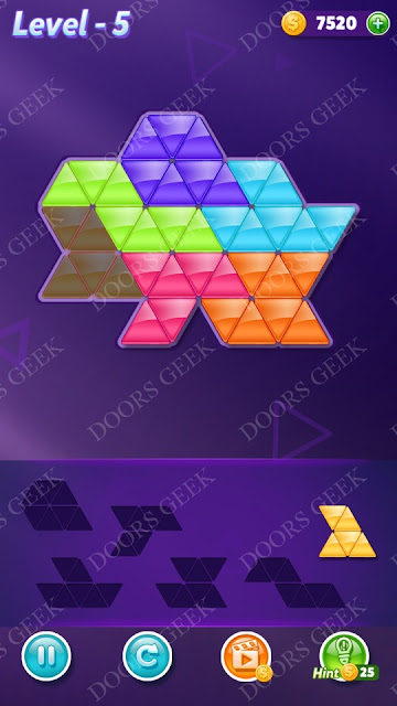Block! Triangle Puzzle Intermediate Level 5 Solution, Cheats, Walkthrough for Android, iPhone, iPad and iPod
