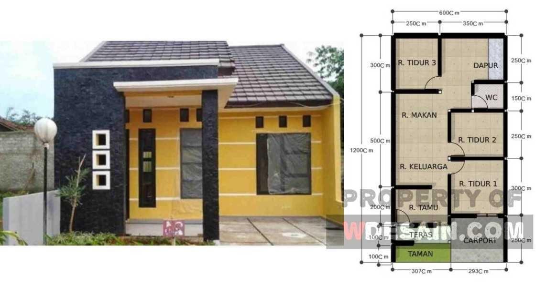 rumah ukuran 6x12 3 kamar tidur