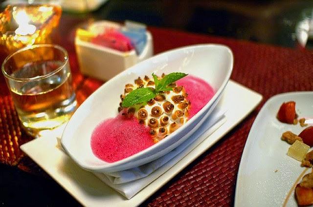 Baked Alaska: Lavender Ice cream, Meringue, Yuzu Coulis, and Hibiscus Foam.
