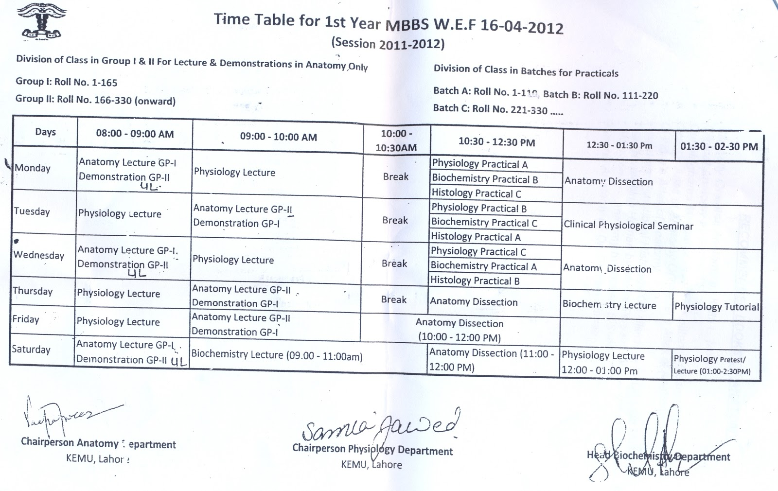Time Table and Academic Calender for 1st year