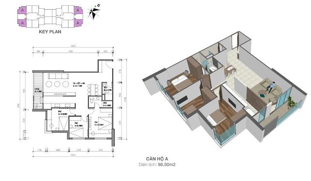 Căn hộ A 98m2 03 phòng ngủ