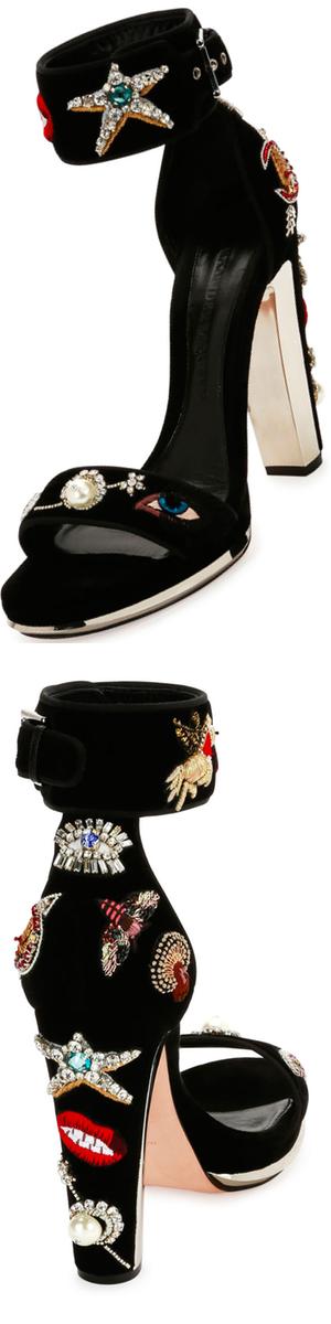 Alexander McQueen Embellished Velvet Ankle-Wrap Sandal