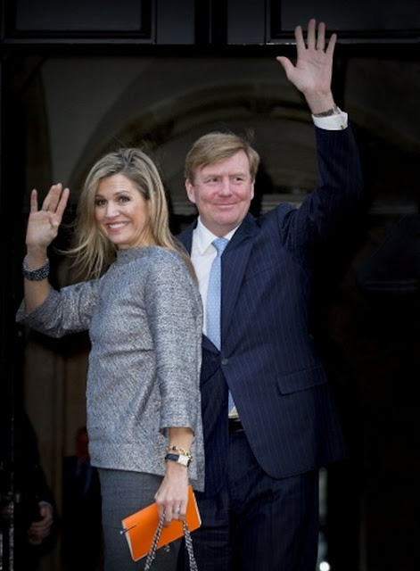 King Willem-Alexander of The Netherlands and Queen Maxima of The Netherlands attend a symposium on Energy and Geopolitics at Royal Palace