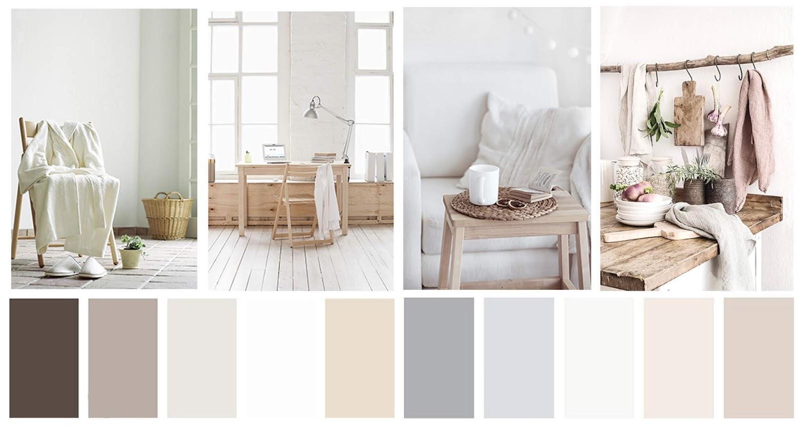 decoración paleta de colores en tonos neutros
