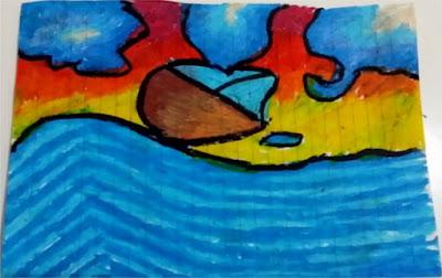 contoh gambar perahu dan laut
