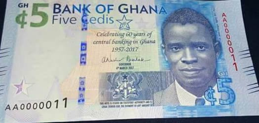 Photos: Kwegyir Aggrey replaces 'big six' on new GHC5 note