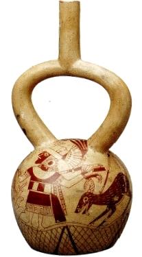 Imagen de cerámica con pintura mochica