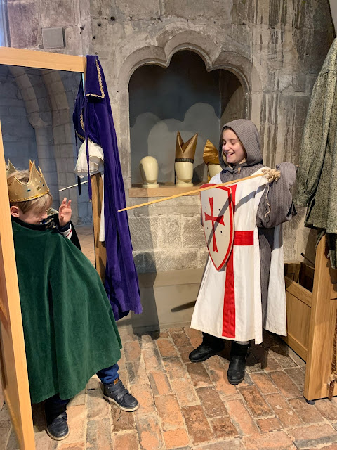 dressing up area in gallery at Gloucester Cathedral