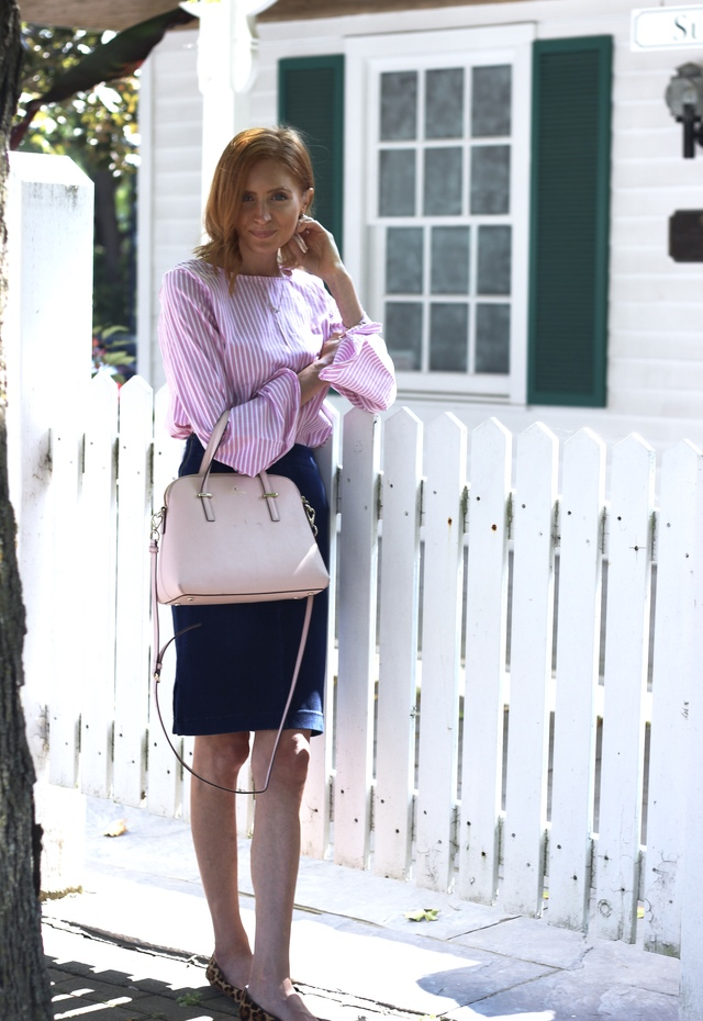 White & Pink stripe top, Le Chateau denim stretch skirt, Louise et Cie leopard flats, Kate Spade Cedar Maise bag pink ; fall style