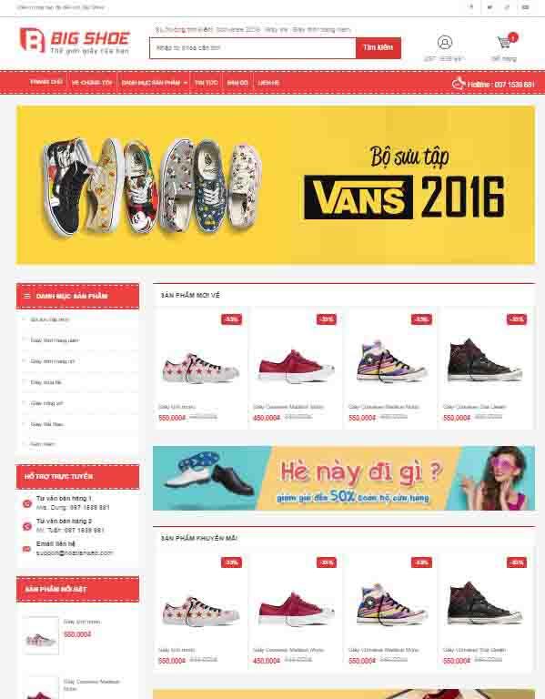 Template blogspot bán hàng shop giày