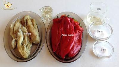 Salata de ardei copti cu vinete - etapa 1