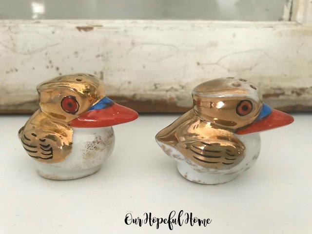 orange eyes orange beaks gold heads pelican lusterware