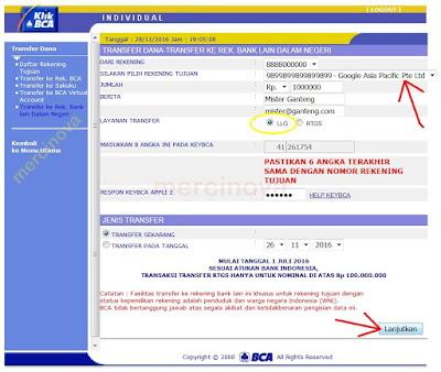 Mengirim dana transfer ke rekening Citybank pakai BCA