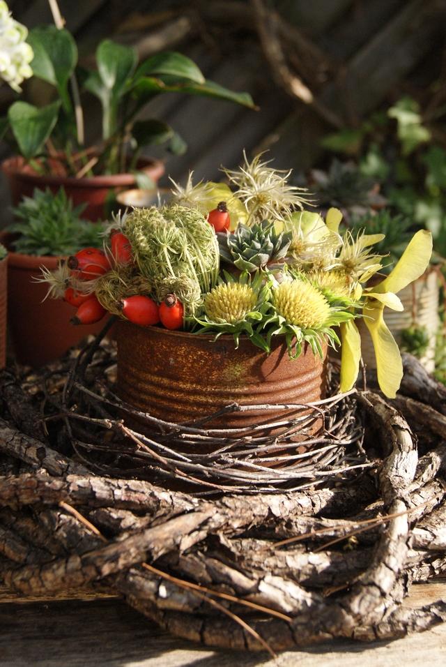 DIY - Rostige Dose mit Gesteck aus Samenständen und Früchten