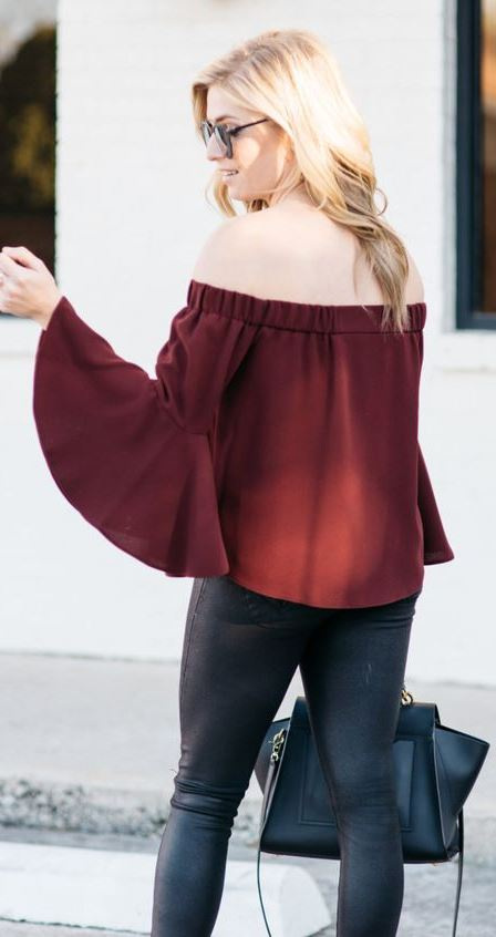 what to wear with a maroon off shoulder blouse: black leather skinnies + bag