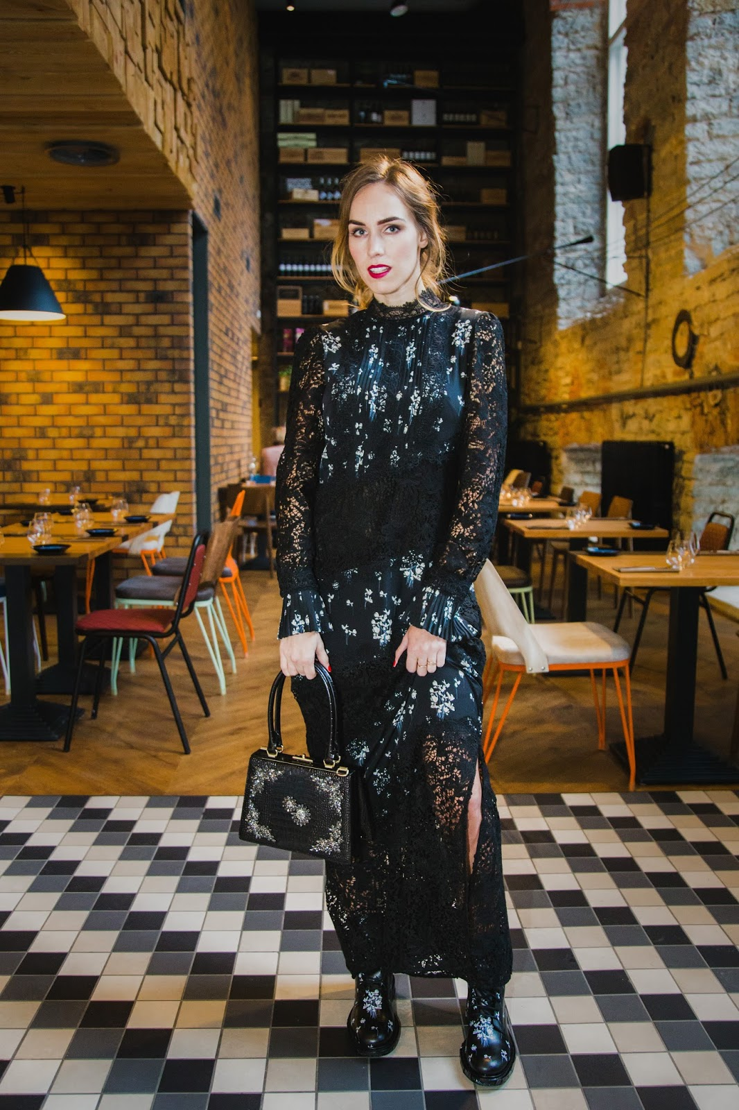 erdem x hm collaboration collection lace maxi dress outfit boots
