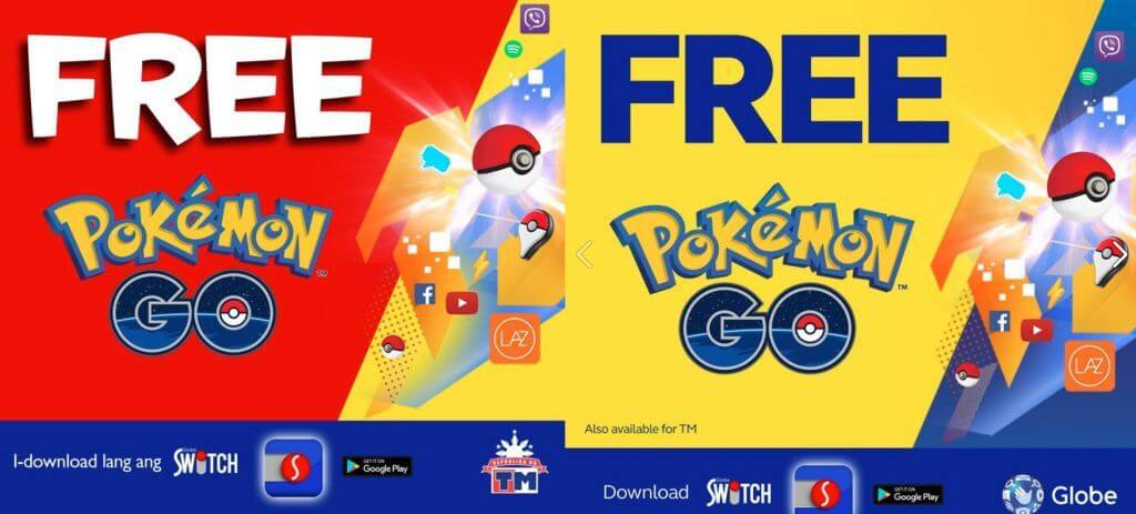 Globe and TM gives Free Pokemon Go Internet using Switch App