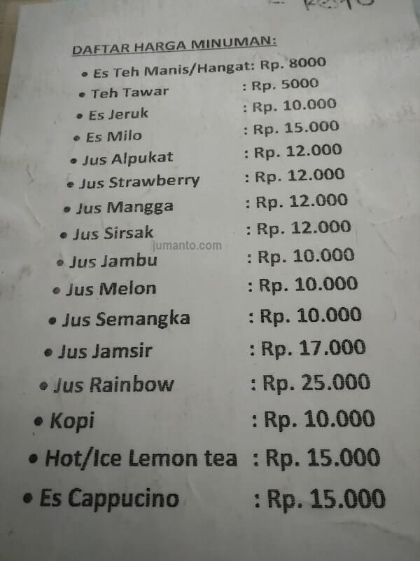 menu minuman warung kangen jogja nasi gudeg