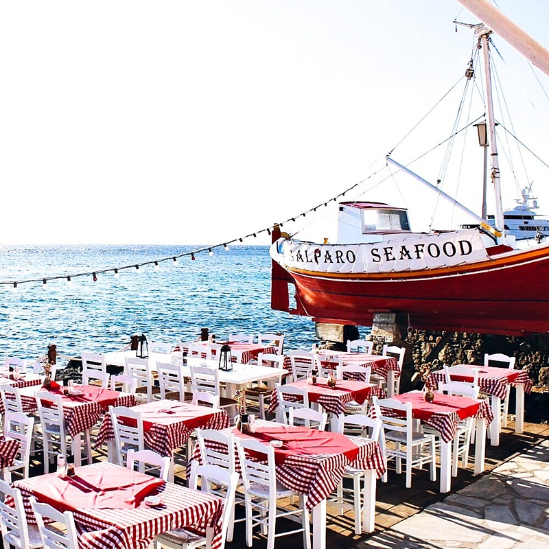 Mykonos island Salparo taverna restaurant by the sea
