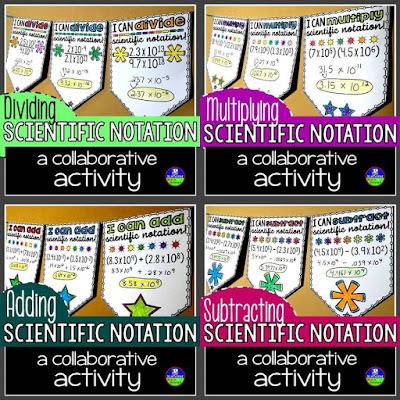 Scientific Notation Math Pennant Activity Bundle
