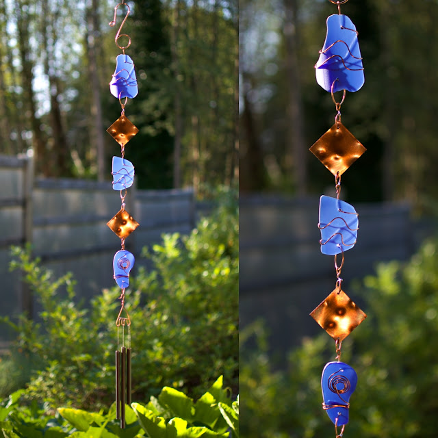 Cobalt blue glass with antiqued copper wind chime: Coast Chimes