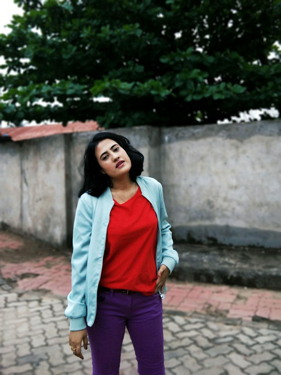 Next red tee ,ASOS denim Jeggings in purple ,Zara bomber jacket,Zara white kitten heel