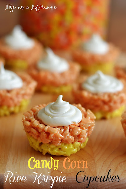 Candy Corn Rice Krispie Cupcakes are rice Krispie treats in the shape of cupcakes and colored like candy corn. Life-in-the-Lofthouse.com