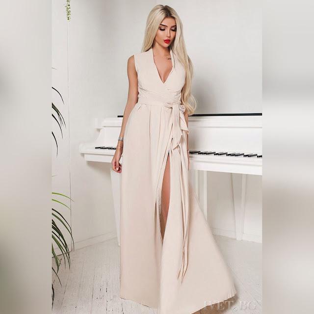 Αμάνικο μάξι μπεζ φόρεμα DERONA BEIGE