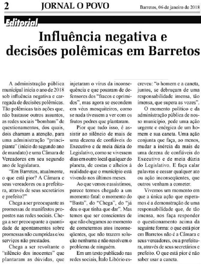 Influência negativa e decisões polêmicas em Barretos (Jornal O Povo de Barretos)