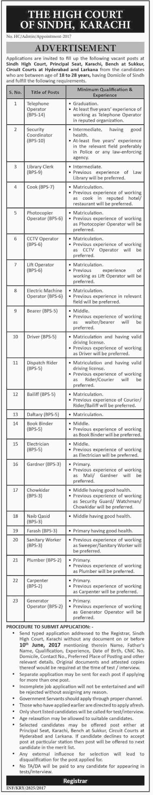 Bps-2 To Bps-14 jobs in High Court Of Sindh Karachi May 2017
