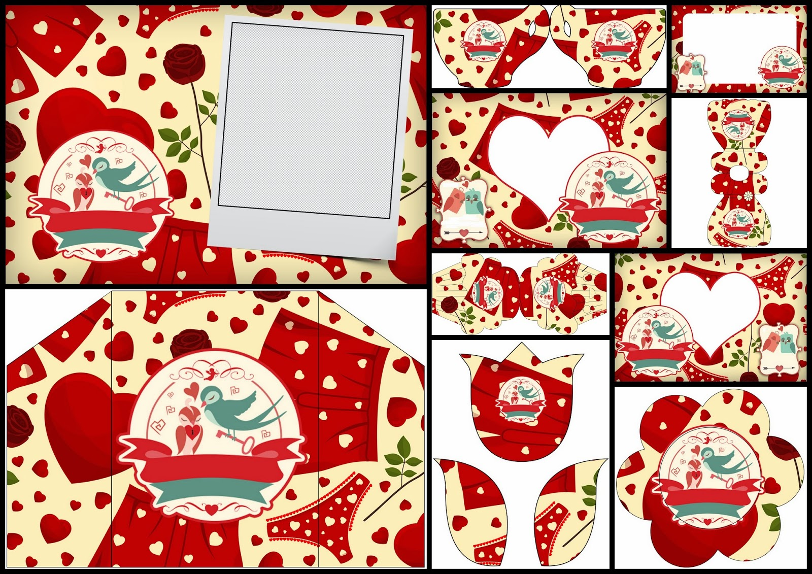 Valentine's Day Birds: Free Printable Invitations, Cards and Photo Frames.
