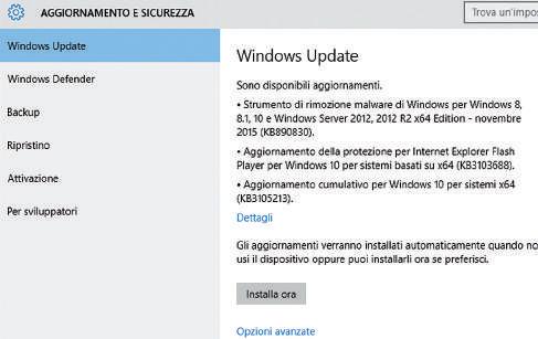 Installazione manuale aggiornamenti windows 10