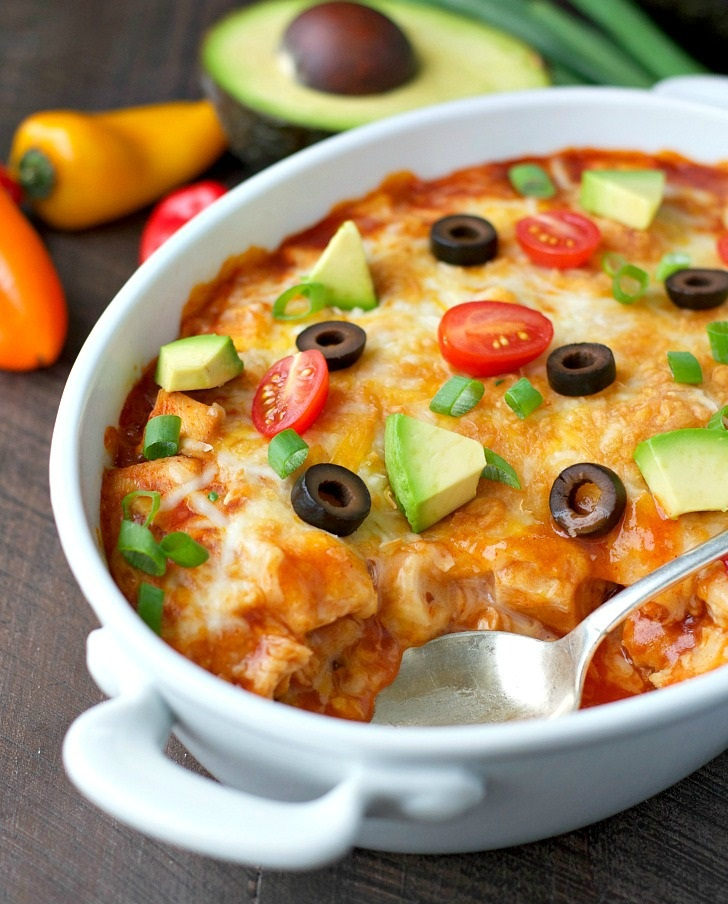 #recipe : Healthy Chicken Enchilada Casserole
