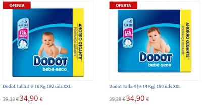 Oferta de pañales Dodot Talla 3 y 4 en Carrefour online