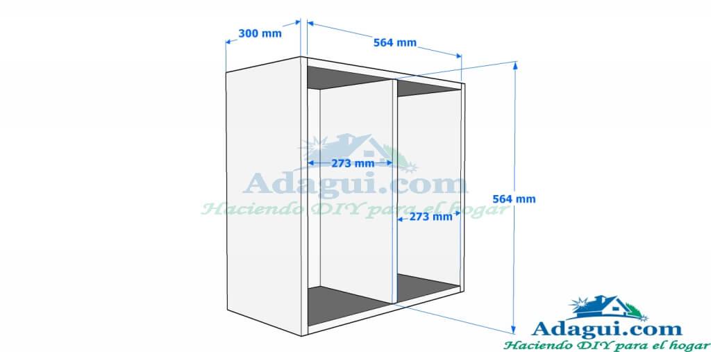 Plano y dise o con medidas mueble alto de cocina melamina for Medidas modulos cocina