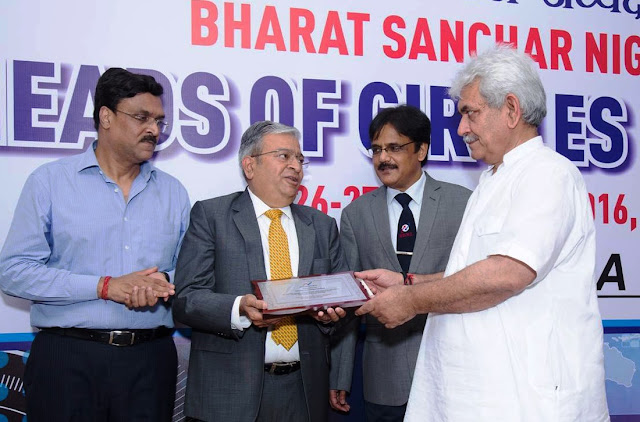 (R-L)) Shri Manoj Sinha, Hon'ble Communication Minister_Mr. Anupam Srivastava- CMD, BSNL and  Mr Rajiv Mehrotra, founder & Chairman  - VN