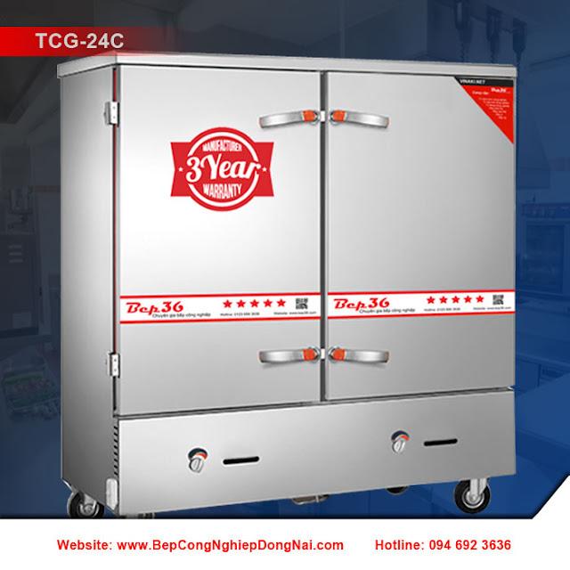 Tủ nấu cơm công nghiệp 24 khay dùng gas TCG-24C