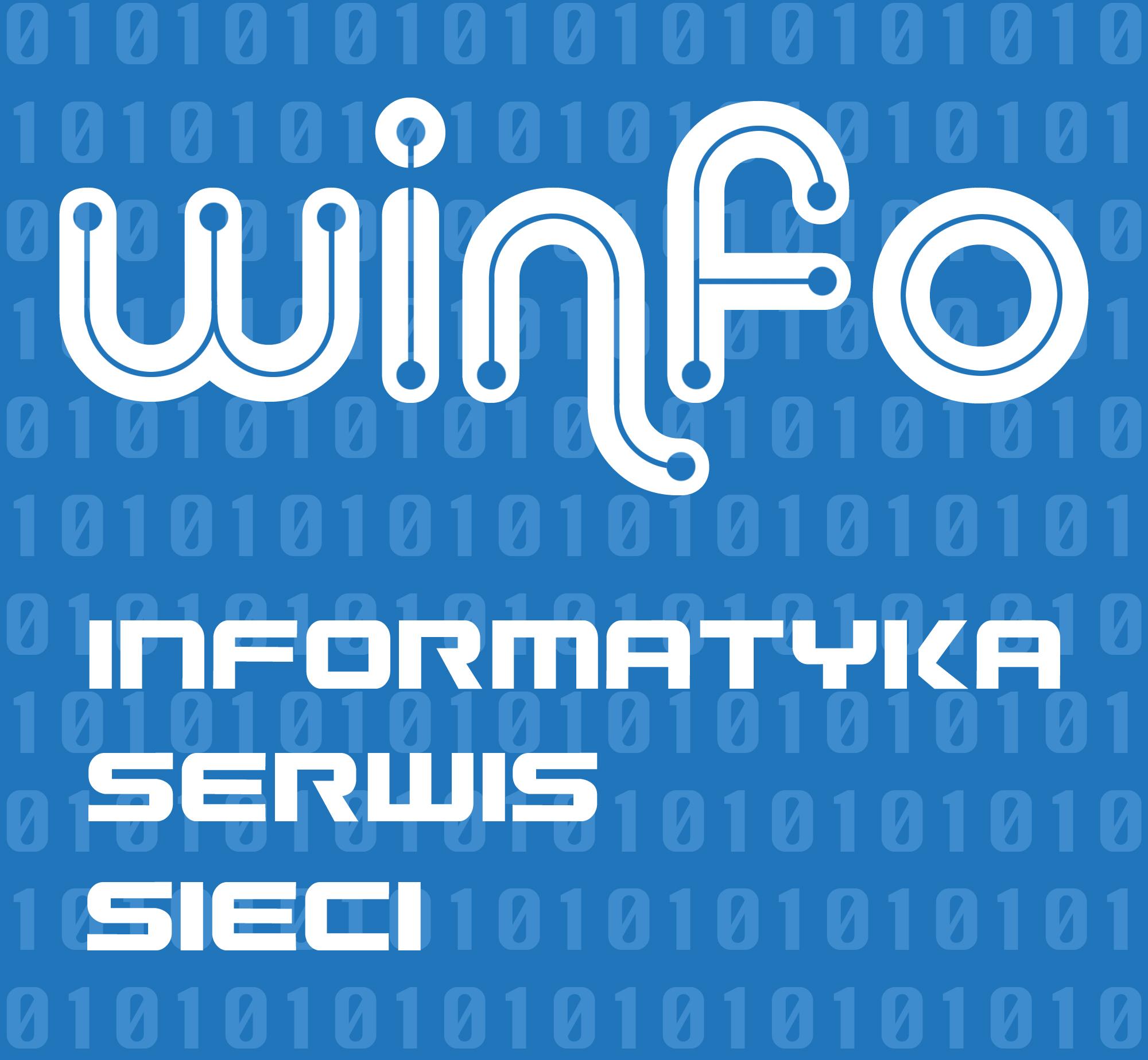 Logo dla firmy Winfo IT. Grafika, logo, logotyp, identyfikacja wizualna