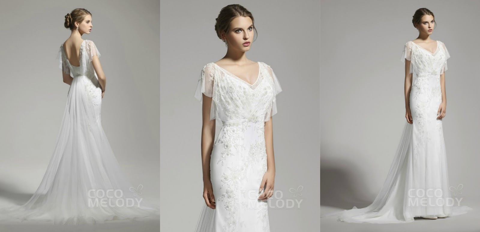 Delicate Sheath-Column V-neck Tulle Ivory Cap Sleeve Wedding Dress with Beading