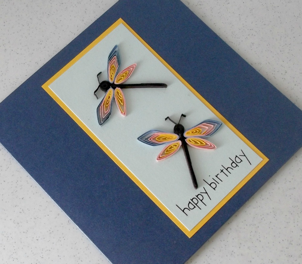 paper daisy cards quilled dragonflies