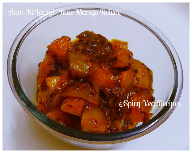 Aam ki launji is a popular north Indian Sweet and sour raw mango relish. This sweet and spicy Aam ki Launji can be served with parathas or roti of your choice. So let's start our preparation for making Raw Mango Launji.    chutney and pickle, Easy Recipes, Mango recipes, North Indian, Quick Recipes, Rajasthani, Regional Indian Cuisine, Mango recipes, veg recipes,Aam Ki Launji (Raw Mango Relish)-Aam Ki Launji (Raw Mango Relish) Recipe-How to make Aam Ki Launji (Raw Mango Relish)