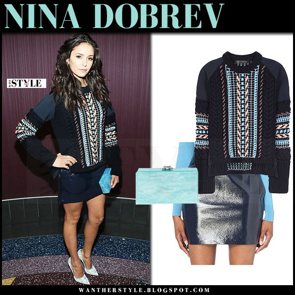 Nina Dobrev in navy embellished knit sweater, blue faux leather mini skirt versace what she wore