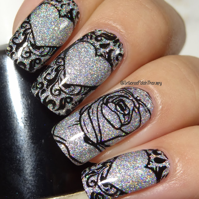 Dreamland Lacquer Light of Blast, Uberchic Beauty Love & Marriage 02 & Cre8tion Black Stamping Lacquer