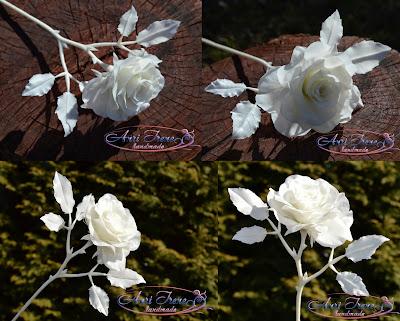 Однотонная белая роза из холодного фарфора