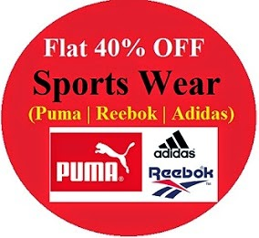 Flat 40% Off on Puma, Adidas, Reebok T-Shirts, Track Pants, Shorts, Sweaters (Limited Period Offer)